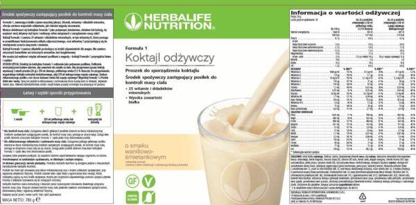 Skład koktajlu Herbalife 780